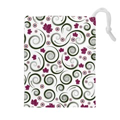 Leaf Back Purple Copy Drawstring Pouches (Extra Large)