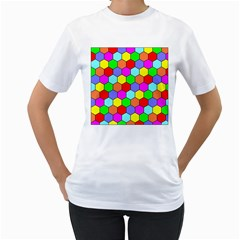 Hexagonal Tiling Women s T-Shirt (White) (Two Sided)
