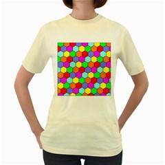 Hexagonal Tiling Women s Yellow T-Shirt