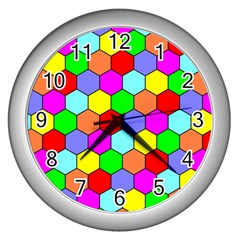 Hexagonal Tiling Wall Clocks (Silver)