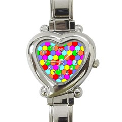 Hexagonal Tiling Heart Italian Charm Watch