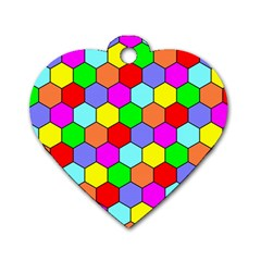 Hexagonal Tiling Dog Tag Heart (One Side)