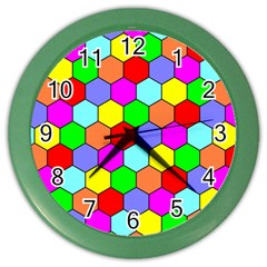 Hexagonal Tiling Color Wall Clocks