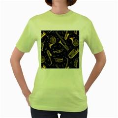 Instrument Saxophone Jazz Women s Green T-Shirt