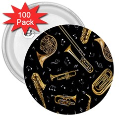 Instrument Saxophone Jazz 3  Buttons (100 pack)