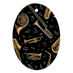 Instrument Saxophone Jazz Oval Ornament (Two Sides)
