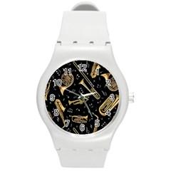 Instrument Saxophone Jazz Round Plastic Sport Watch (M)