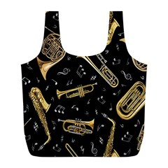 Instrument Saxophone Jazz Full Print Recycle Bags (L)