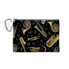 Instrument Saxophone Jazz Canvas Cosmetic Bag (M)