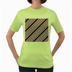 Line Christmas Stripes Women s Green T-Shirt