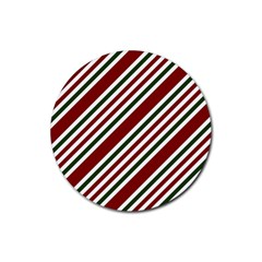 Line Christmas Stripes Rubber Round Coaster (4 pack)