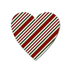Line Christmas Stripes Heart Magnet