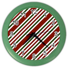 Line Christmas Stripes Color Wall Clocks