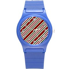 Line Christmas Stripes Round Plastic Sport Watch (S)