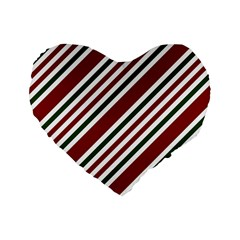 Line Christmas Stripes Standard 16  Premium Heart Shape Cushions