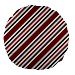 Line Christmas Stripes Large 18  Premium Flano Round Cushions