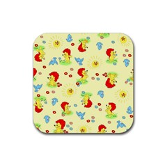 Lion Animals Sun Rubber Square Coaster (4 pack)
