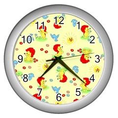 Lion Animals Sun Wall Clocks (Silver)