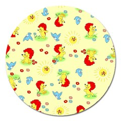 Lion Animals Sun Magnet 5  (Round)