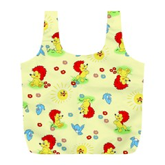 Lion Animals Sun Full Print Recycle Bags (L)