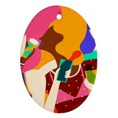Girl Colorful Copy Ornament (Oval)