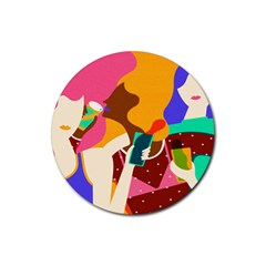 Girl Colorful Copy Rubber Round Coaster (4 pack)