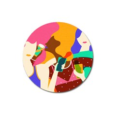Girl Colorful Copy Magnet 3  (Round)