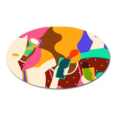 Girl Colorful Copy Oval Magnet