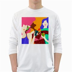 Girl Colorful Copy White Long Sleeve T-Shirts