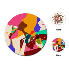 Girl Colorful Copy Playing Cards (Round)