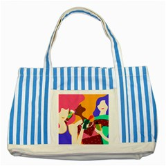 Girl Colorful Copy Striped Blue Tote Bag