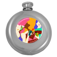 Girl Colorful Copy Round Hip Flask (5 oz)