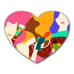 Girl Colorful Copy Heart Mousepads