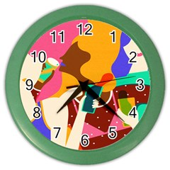 Girl Colorful Copy Color Wall Clocks