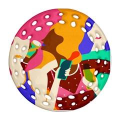 Girl Colorful Copy Ornament (Round Filigree)