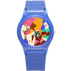 Girl Colorful Copy Round Plastic Sport Watch (S)