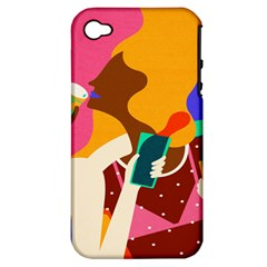 Girl Colorful Copy Apple iPhone 4/4S Hardshell Case (PC+Silicone)