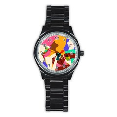Girl Colorful Copy Stainless Steel Round Watch