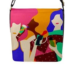 Girl Colorful Copy Flap Messenger Bag (L)