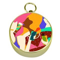 Girl Colorful Copy Gold Compasses