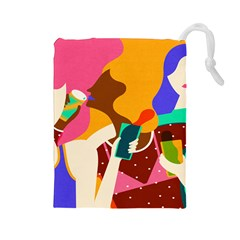 Girl Colorful Copy Drawstring Pouches (Large)