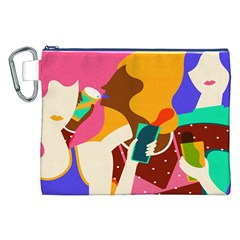 Girl Colorful Copy Canvas Cosmetic Bag (XXL)