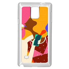 Girl Colorful Copy Samsung Galaxy Note 4 Case (White)