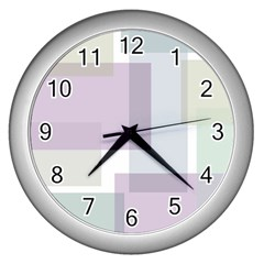 Abstract Background Pattern Design Wall Clocks (Silver)