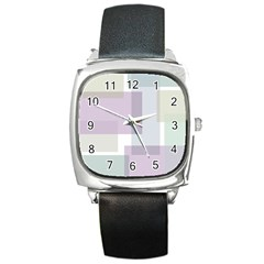 Abstract Background Pattern Design Square Metal Watch