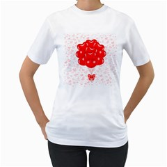 Abstract Background Balloon Women s T-Shirt (White) (Two Sided)
