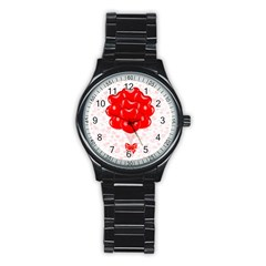 Abstract Background Balloon Stainless Steel Round Watch