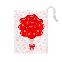 Abstract Background Balloon Drawstring Pouches (Large)