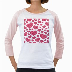Heart Love Pink Back Girly Raglans