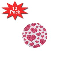 Heart Love Pink Back 1  Mini Buttons (10 pack)